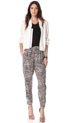 Tucker Slouchy Pants.  Love the white jacket over the black tee