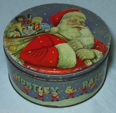 1950's Vintage Huntley and Palmers Christmas biscuit tin.