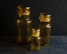 Amber Glass Apothecary Jars  Storage Bottle  by TheVintageParlor, $35.00
