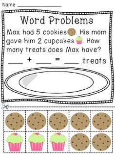 math worksheet : math task cards for first graders freebie  word problems  free  : Kindergarten Word Problems Worksheets
