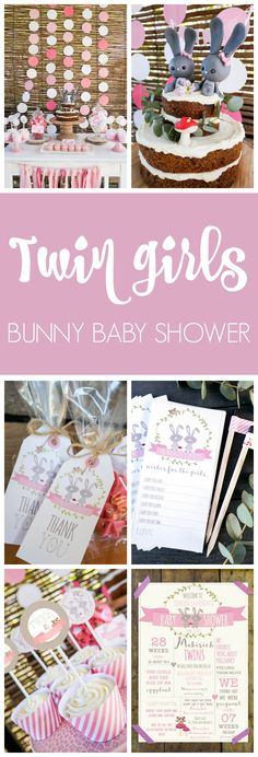 Twin Girls Bunny Themed Baby Shower   Pretty My Party - It would also make a cute birthday party theme!