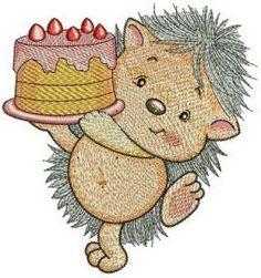 Hedgehog's birthday machine embroidery design. Machine embroidery design. www.embroideres.com