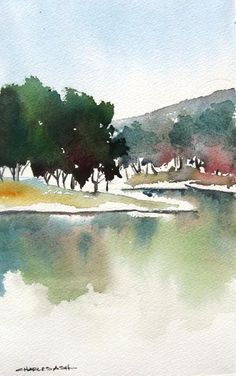 Original Landscape Painting by Charles Ash Simple Oil Painting, Watercolor Painting Techniques, Watercolor Landscape Paintings, Watercolor Trees, Easy Watercolor, Watercolor Sketch, Abstract Watercolor, Landscape Art, Watercolor Paper