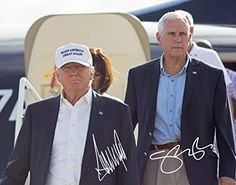 Donald Trump & Vice President Mike Pence White Hat Cap Make America Great Again Signed Preprint 11x14 Poster Photo