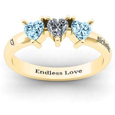 Triple Heart Stone Ring #jewlr