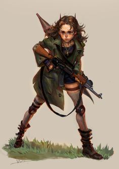Fighter by huanGH64 female elf tiefling postapocalypse fighter rouge rocket launcher rifle child girl armor clothes clothing fashion player character npc | Create your own roleplaying game material w/ RPG Bard: www.rpgbard.com | Writing inspiration for Dungeons and Dragons DND D&D Pathfinder PFRPG Warhammer 40k Star Wars Shadowrun Call of Cthulhu Lord of the Rings LoTR + d20 fantasy science fiction scifi horror design | Not Trusty Sword art: click artwork for source