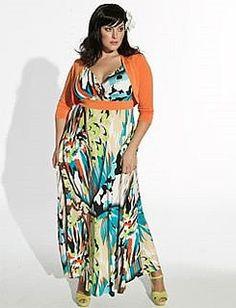 Plus size maxi dress with coordinating shrug.