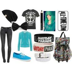 This ones my favorite. Scene outfit with all time low and mayday parade band merch