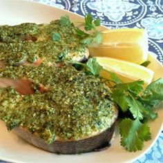 "Cilantro and Walnut Crusted Salmon | ""This salmon is fresh and easy. All ingredients are thrown in a food processor to form a paste then spread on salmon fillets. Bake and enjoy!"""