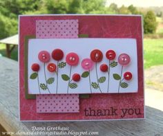 simple Button flowers card - i might alternate stamped, punched and real buttons.Love this gorgeous thank you card featuring buttons made from flowers. Buttons are my favorite :)Wanna cool ideas for button crafts This button crafts Ideas page gives you di Handmade Greetings, Greeting Cards Handmade, Button Cards, Button Button, Button Flowers, Card Tags, Paper Cards, Flower Cards, Creative Cards