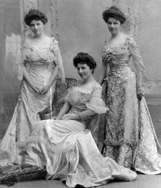 Edith Cryder, seated at center, with her two sisters, probably around the time of her marriage to Lothrop Ames in June of 1904.