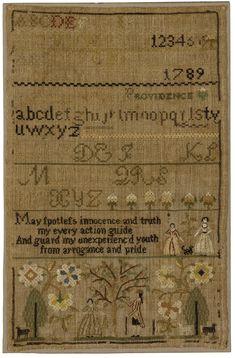 Caty Field - Mary Balch's School - Providence, Rhode Island - 1789. Silk on linen. Betty Ring collection.