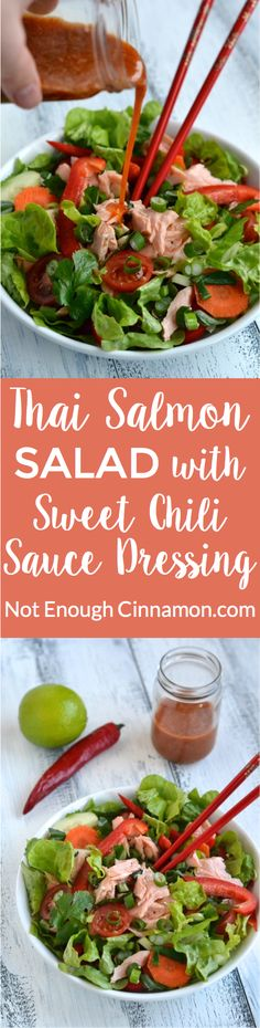 Thai Salmon Salad with Sweet Chili Sauce Dressing - find the recipe on NotEnoughCinnamon.com #healthy #dinner