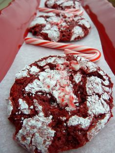 OMG...I just made these...AAAAAAmazing!!!!  :) Red Velvet Peppermint Crinkle Cookies - Cookin' Cowgirl