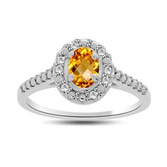 0.50ct Citrine & VVS1 Diamond Accents Sterling Silver Halo Ring+ Black Diamond #Gemdepot #Halo