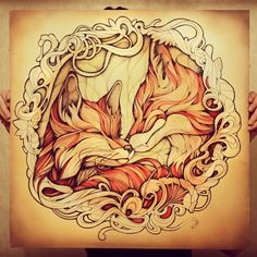Stunning Red Fox Illustrations Using Watercolors and Ink - Russia-based artist Alice Macarova that'd be a badass tattoo