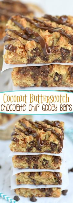 These Coconut Butterscotch Chocolate Chip Gooey Bars are sure to be a hit! So much flavor in one bite! Perfect for potlucks, picnics, road trips and more! // Mom On Timeout(Chocolate Bars Butterscotch Chips) Easy Desserts, Delicious Desserts, Yummy Food, Cookie Recipes, Dessert Recipes, Bar Recipes, Gooey Bars, Cupcakes, How Sweet Eats