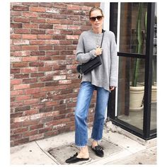 Danish-born designer Anine Bing shares her current-favorite fall fashion pieces: A cozy, grey, oversized cashmere sweater.