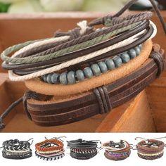 Braided Adjustable Leather Bracelet With Green Beads Women/Men - Bracelets World