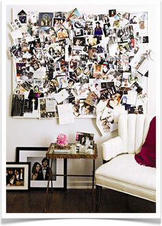 while this can be done wrong and look cluttered, i love the idea of picture collages like this... when done right they are so fun, not only do they look like a work of art from afar, but up close they are a glimpse into your life and the people that make you smile :)
