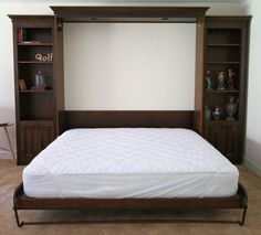King Sized Murphy Bed With Cabinets Design And White Mattress