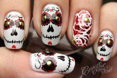 art day of the dead dia de los muertos halloween nail art nail designs nai Halloween Nail Designs, Halloween Nail Art, Sugar Skull Nails, Sugar Skulls, Coco Nails, Ten Nails, October Nails, Gothic Nails, Fall Manicure
