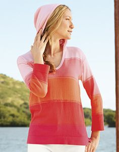Sunset-Striped Hooded Sweater