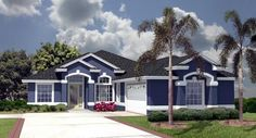 Beautiful blue outdoor color. Elevation of Plan ID: 51141