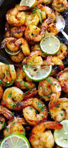 Garlic Honey Lime Shrimp - garlicky, sweet, sticky skillet shrimp with fresh lim. - Garlic Honey Lime Shrimp – garlicky, sweet, sticky skillet shrimp with fresh lime. This recipe is - Grilled Shrimp Recipes, Shrimp Recipes For Dinner, Best Seafood Recipes, Healthiest Seafood, Shrimp Recipes Easy, Shellfish Recipes, Healthy Recipes, Delicious Recipes, Tasty