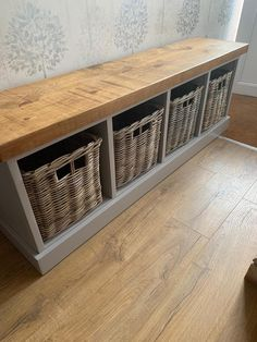 Painted Shoe Rack Storage Bench with 4 Baskets *Entrance Porch Reception Hallway Grey Blue *choose Excited to share this item from my shop: Painted Shoe Storage Bench with 4 Baskets Grey Blue *choose colour* BASKETS INCLUDED Raw Furniture, Pallet Furniture Shoe Rack, Shoe Storage Furniture, Furniture Ideas, Hallway Storage, Hallway Bench With Storage, Entryway Shoe Bench, Ikea Shoe Bench, Diy Entry Storage