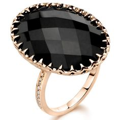 Ivanka Trump black onyx cocktail ring with diamond accents, $1,900; ivankatrumpcollection.com.