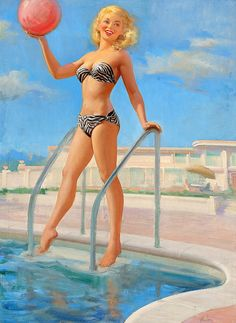 Beautiful tones in this summery pinup piece. #vintage #1950s #pinup #girl #art #swimming #summer