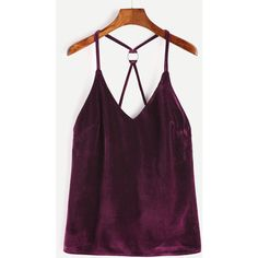 Velvet Ring Accent Back Cami Top ($8.99) ❤ liked on Polyvore featuring tops, burgundy, purple camisole, burgundy tank top, purple top, spaghetti strap tank tops and purple vest