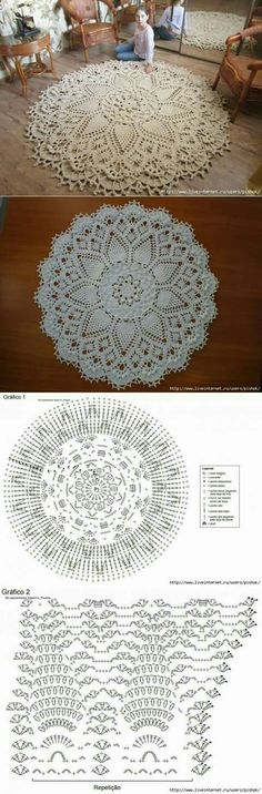 salfetka kover doily albom the best of patricia kristoffersen ltbrgt crochet homeltbrgt crochet rugsltbrgt crochet patternsltbrgt doiliesltbrgt the o - PIPicStats Crochet rug crochet carpet doily lace rug by eMDesignBoutique aa c doilies free This is the Filet Crochet, Crochet Doily Rug, Crochet Doily Diagram, Crochet Carpet, Crochet Mandala Pattern, Crochet Diy, Crochet Tablecloth, Crochet Pillow, Doily Patterns