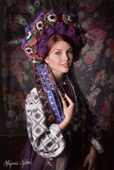Elaborate purple and plum Ukrainian woman's attire - carry on the spirit of Ukraine! Folk Fashion, Ethnic Fashion, Fotografia Retro, Costume Ethnique, Ethno Style, Ukrainian Art, Folk Costume, Costumes, Folklore