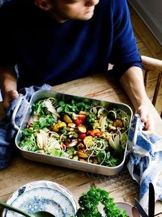 Roasted roots & halloumi traybake with courgette tangles