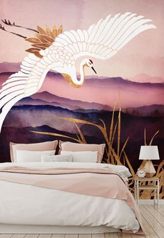 Love oriental and art deco wallpaper? Take a look at this custom-made Elegant Flight III Bird Wallpaper mural. For a serene and calm bedroom, choose this beautiful Elegant Flight III wallpaper. The watercolour layers of purple mountains, the crisp white wings of the bird and the golden tones of the grasses all work wonderfully together. Click to discover more from Wallsauce! #wallpaper #wallmural Watercolour wallpaper in pink and purple. Art Deco Wallpaper, Watercolor Wallpaper, Watercolor Walls, Bird Wallpaper, Designer Wallpaper, Watercolour, Calm Bedroom, White Wings, Grasses