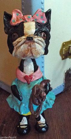 Folk Art Vintage Boston Terrier Dog Doll Nostalgic Bunny Doll Ooak Whimsical