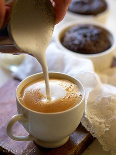Breakfast. Coffee& сhokolate fondant. Making coffee latte by o_lesyk, via Flickr