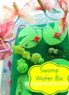#waterbin play | Swamp Theme | Part of the Play the Summer Away Water Bins For Kids | By The Sugar Aunts
