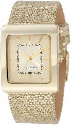 Nine West Women's NW/1292CHGD Square Gold-Tone Sparkle Strap Watch Nine West. $49.00. Champagne dial with applied gold-tone stick markers at all hours and printed black inner minute track. Gold-tone hour, minute and second hands. 27mm square polished gold-tone case. Gold-tone glitter strap. Stainless steel buckle closure