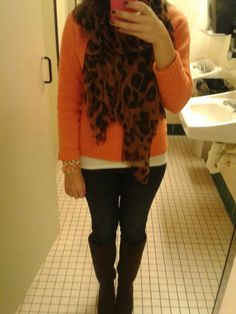 Fall colors and the leopard scarf with the bright sweater