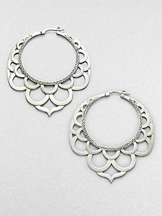John Hardy Sterling Silver Lace Hoop Earrings/2.2""