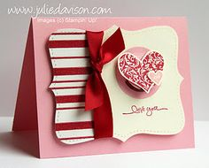 handmade Valentine card ... simple elements in red, pink and vanilla ... elegant style ... luv it!!