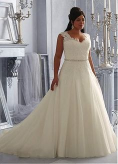 Charming Organza & Tulle V-neck Neckline Natural Waistline A-line Plus Size Wedding Dress With Lace Appliques