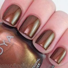 Zoya Nail Polish in Cinnamon can be best described as a classic bronze liquid metal, originally designed for Zang Toi NYFW Fall/Winter 2015 Brown Nail Polish, Zoya Nail Polish, Brown Nails, Nail Polish Colors, Nail Polishes, Winter Nails, Hair And Nails, Swatch, Nail Designs