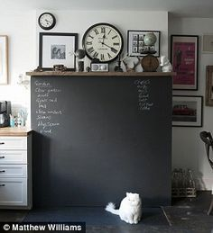 Chalk board chimney breast