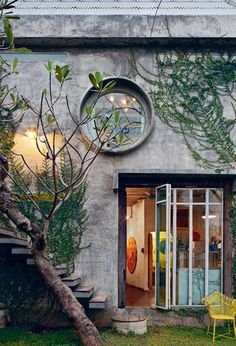 round windows + creeping vines