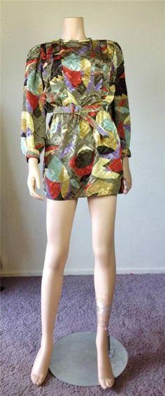 $19.99 Vintage Retro 80's geometric print silk feel micro mini belted dress