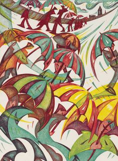Gary Ratushniak (Canadian, born Umbrellas Linocut printed in colours, an excellent impression with vibrant colours, on japanese mulberry, Linocut Prints, Art Prints, Block Prints, Art Deco Illustration, Gravure, Art Pictures, Illustrations Posters, Modern Art, Abstract